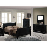 Louis Phillipe II Black Finish Bedroom Set