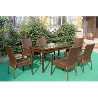 Flat Rattan Dining Table Set