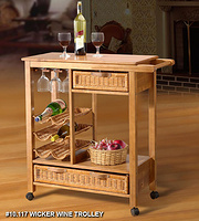 Wicker Kitchen Cart