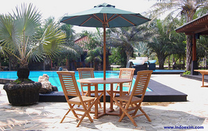 TGF 035 C  Round Umbrella Table D 120 & TGF 080  Hampton Folding Chair (4 pcs) & TGF 039 A  Round Um