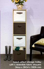 DIY Storage Trolley With 4 Reversible Fabric Drawers-magazine racks
