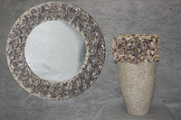 Floral shell mirror and vase