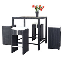 Used restaurant PE rattan bar table and chair with polyester wooden/teak bar chair and table