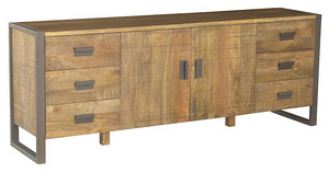 SIDE BOARD UNIT 2 DOOR 6 DRAWERS 205 X 47.5 X 77.5 CM.