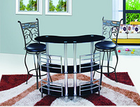 modern chrome and glass bar table and chairs