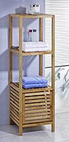 bathroom tall cabinet,storage tallboy, 2 shelf floor cabinet, walnut,oiled