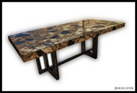 PW-064_Inlayed Petrified Wood Rectangular Dining Table