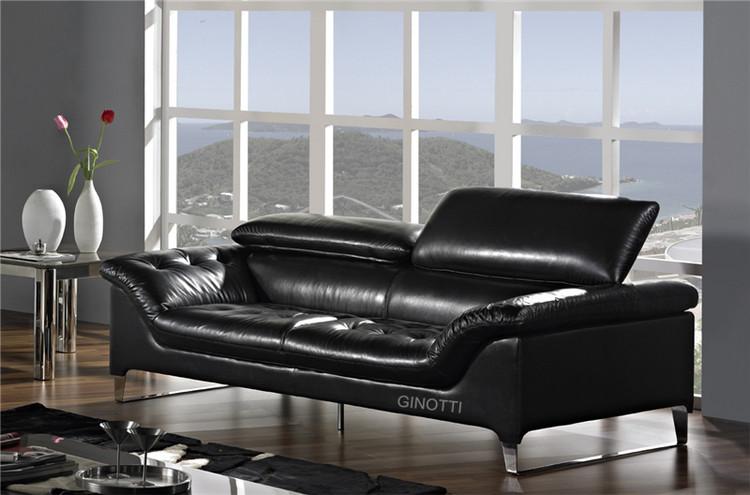 italian design leather sofa with adjustable backrest gls1009