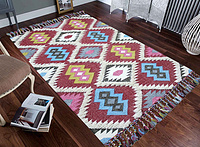 WOOL SHAG KILIM -RED MULTI
