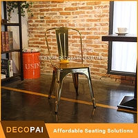 gold silver metal industrial dinning chair