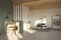 Natural Oak Living Room and desk